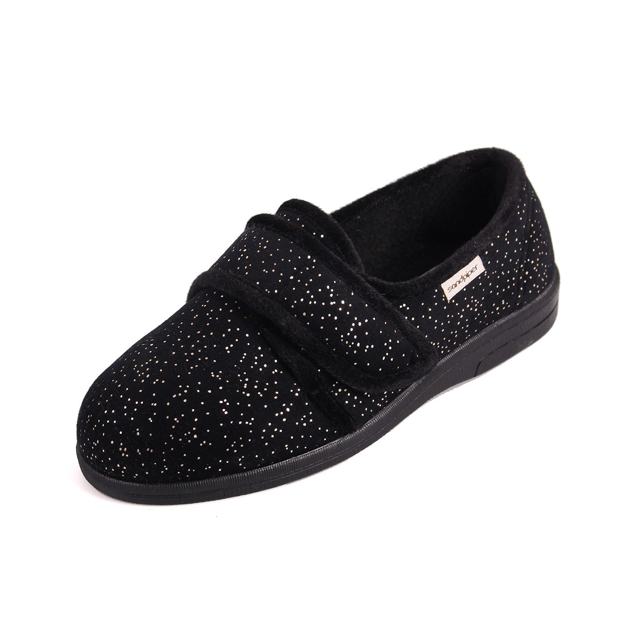 Sandpiper Sophie Black Sparkle Ladies Slipper