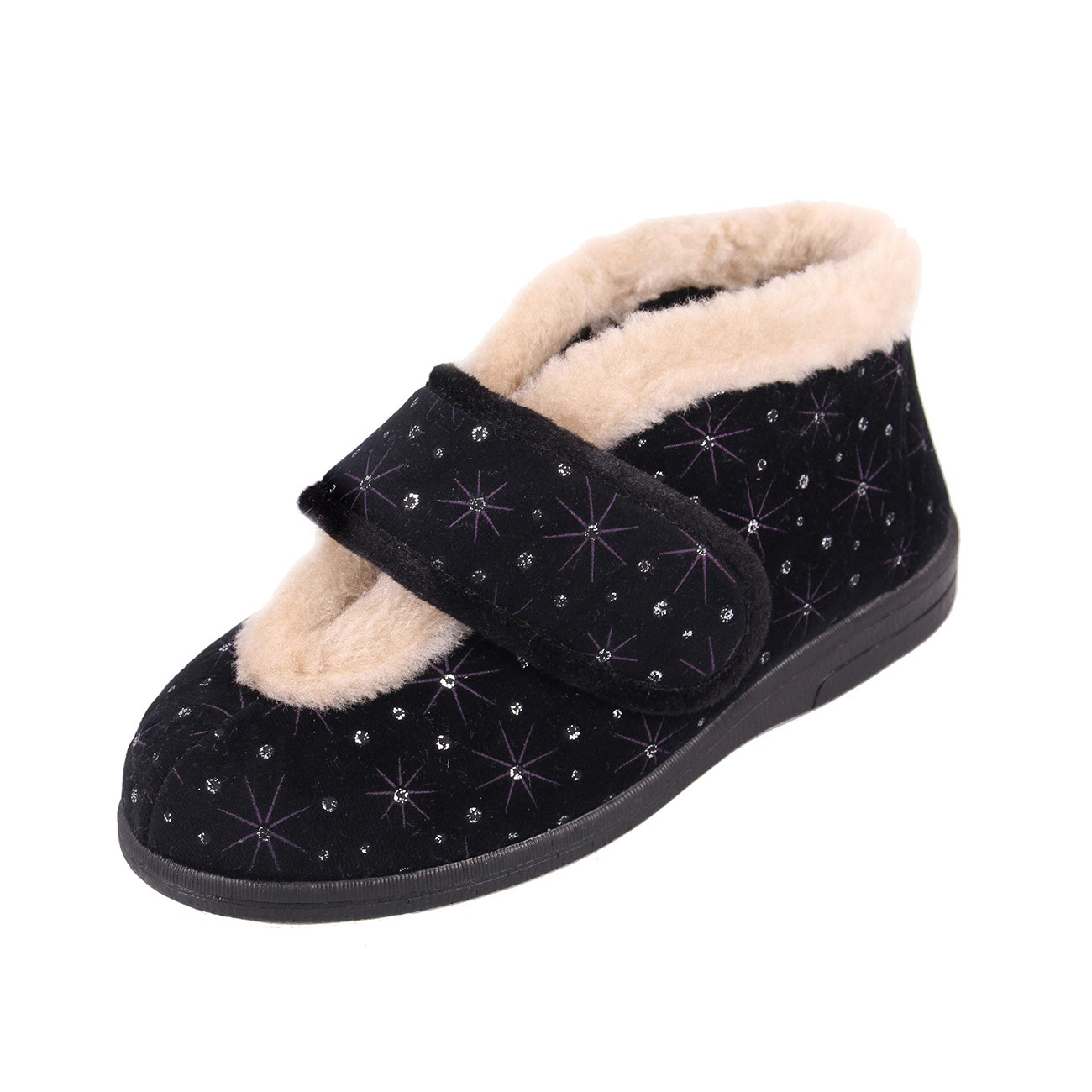 Sandpiper Val Black Starburst Ladies Slipper