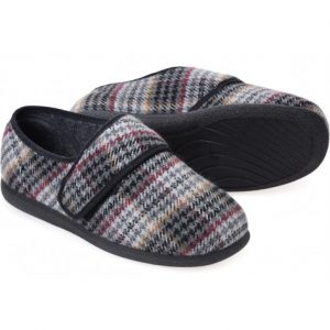 Cosyfeet Reggie Grey Multi Extra Roomy Men's Slipper
