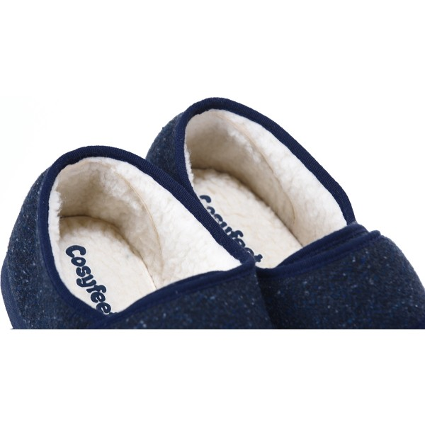 Cosyfeet Rudolph Men's Fleecy Lined Extra Roomy Slipper and men's wider fitting footwear
