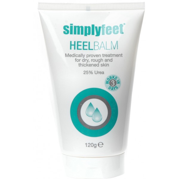 Simply Feet Heel Balm helps with dry and cracked heels and also rough skin