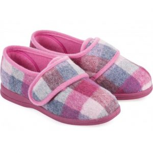 Cosyfeet Holly Extra Roomy Ladies Pink Check Slipper
