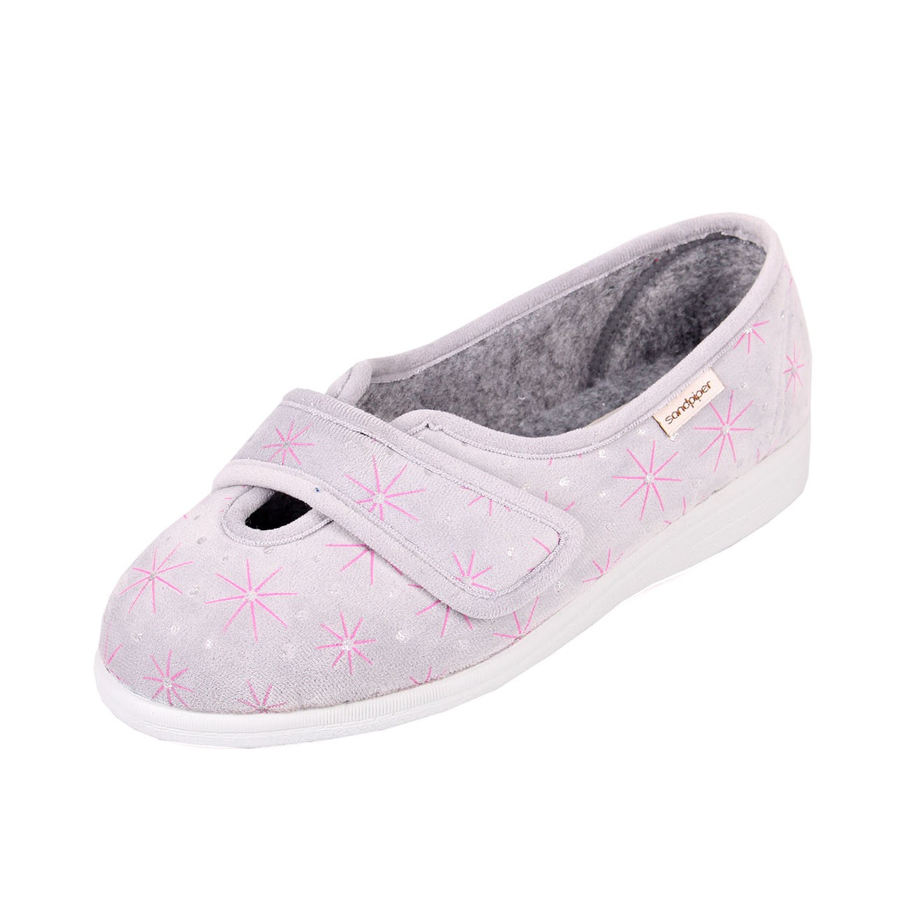 Sadie Sandpiper Grey Ladies Slipper and ladies wider fitting slippers